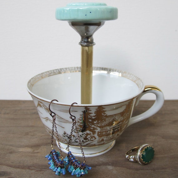 sea green gold antique teacup ring holder