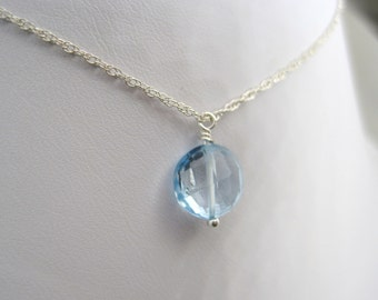 Dazzling Light Blue Topaz Gemstone Dangle Christian Necklace - Sterling Silver Chain - Living Water Collection