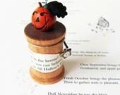 Halloween Jack-O-Lantern On A Spool- Miniature Clay Pumpkin Rustic Holiday Decoration- Handmade By humbleBea