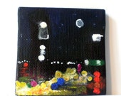 mini painting: night time city, busy street, glowing lights