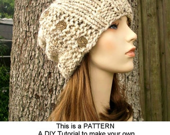 Instant Download Knitting Pattern - Womens Hat Pattern - Knit Hat Pattern for Cardigan Beanie Pattern - Womens Hat - Womens Accessories