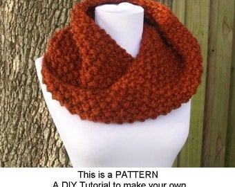 Instant Download Knitting Pattern PDF - Knit Cowl Scarf Knitting Pattern PDF for Chunky Mobius Cowl - Knit Cowl Pattern Womens