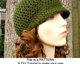 Instant Download Crochet Pattern - Hat Crochet Pattern - Crochet Womens Hat Pattern Skater Boy Hat - Newsboy Hat Pattern Womens Accessories