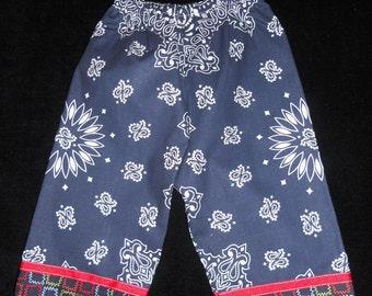 Baby Boys or Girls Size 6-12 months Navy Blue Bandana Long Pants