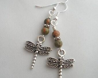 Unakite Silver Dragonfly Earrings