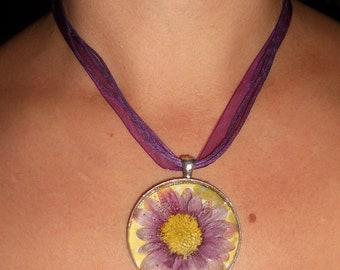 PURPLE chrysanthemum  pressed  flower pendant