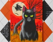 Black Cat and Riding Witch Original Halloween ACEO Miniature Painting EHAG