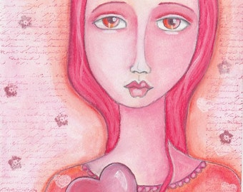 Mixed Media Art, Folk Art, Pink, Original Watercolor, Wall Art, Girl, Heart, Love - Holding On