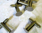 10mm brass plated cuff link findings, pick your amount cufflinks