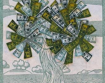 Money Tree Print Linocut Blockprint Paper Art