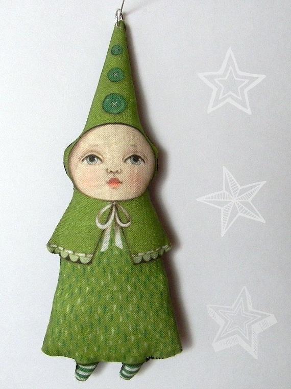 Tree Elf Ornament-  Original Folk Art Doll- Printed and Stuffed Fabric