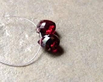 AAA GARNET Faceted Heart Briolette Beads - 8mm