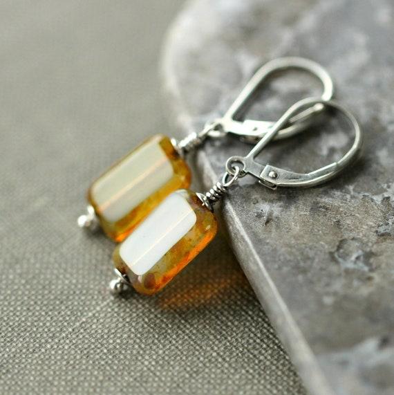 Yellow Czech Earrings Glass Oxidized Sterling Silver - Butterscotch