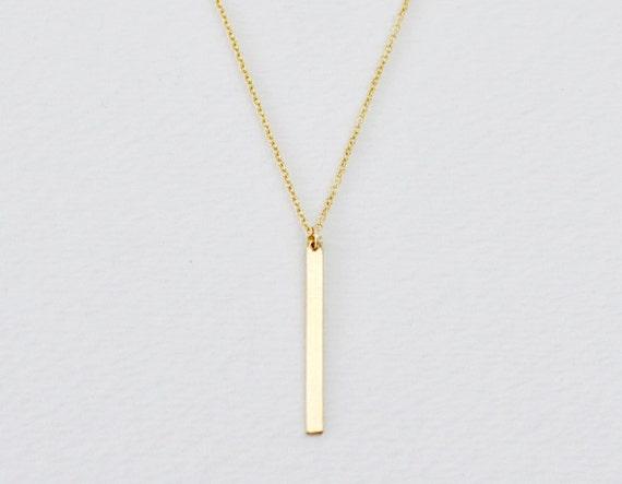 Vertical bar necklace - gold filled necklace - gold bar necklace - rectangle necklace - long necklace - minimalist necklace - Slice gold