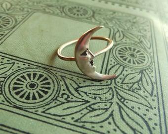 Brass Crescent Moon Ring on Antiqued Brass Band, Art Nouveau, Tattoo, Steampunk Celestial