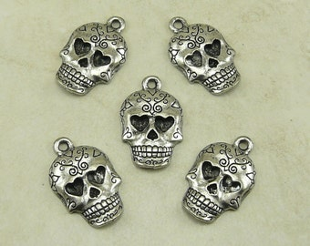 5 Scrolls and Hearts Sugar Skull Day of the Dead Charms > Suicide Squad Gothic Biker Halloween Raw Lead Free Pewter - I ship Internationally