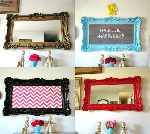 "CUSTOM Vintage Hollywood Regency Framed Magnetic Chalkboard, Memo Board, Mirror YOU CHOOSE Color and Style 22"" x 37"""