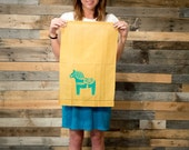 Linen Tea Towel Swedish Dala Horse Mustard Yellow or White