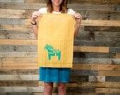 Linen Tea Towel Swedish Dala Horse Mustard Yellow or White