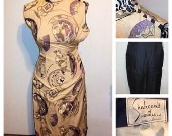 1950s Alfred Shaheen Silk Hawaiian Hostess Set -  Dress/Capris - XXS/XS