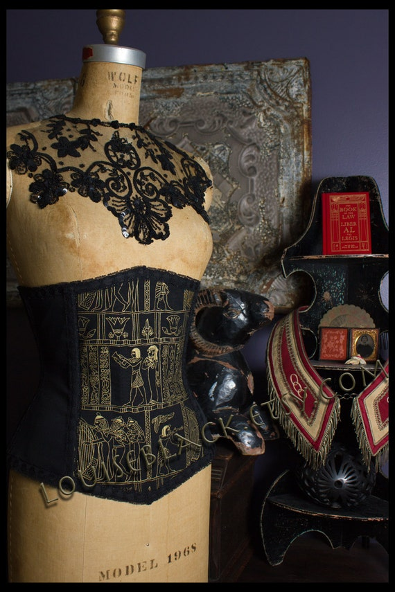 Limited Edition Egyptian Hieroglyph Corset by Louise Black Ready to Ship Size Medium 25 Inch