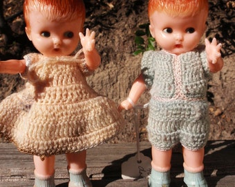 Sale 1940s Knickerbocker Dolls Set Boy and Girl Yellow Blue Knitted Clothes Rattleheads epsteam Gift