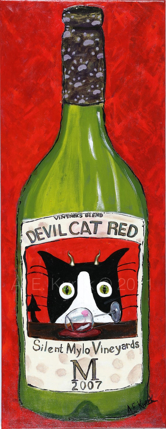 """Matted Cat Art Print - Devil Cat Red Wine in 8"""" x 10"""" Mat - Tuxedo Cat Art - Wine Art - Cat Print - Wine Print - Gift for at Lover"""