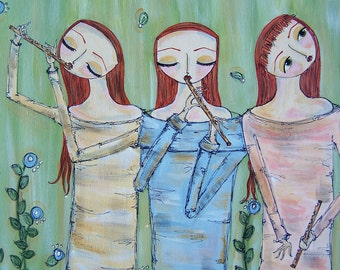 Art original acrylic painting music flute flowers red head girl band