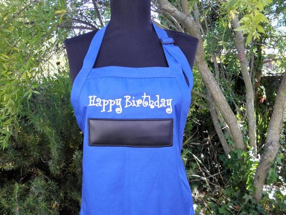 "Happy Birthday Chalkboard APRON Embroidery 34"" Ready to Ship"