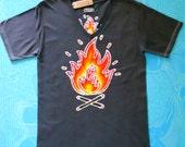 Mens v neck t shirt Campfire batik individually hand drawn  hand painted & hand dyed vintage black