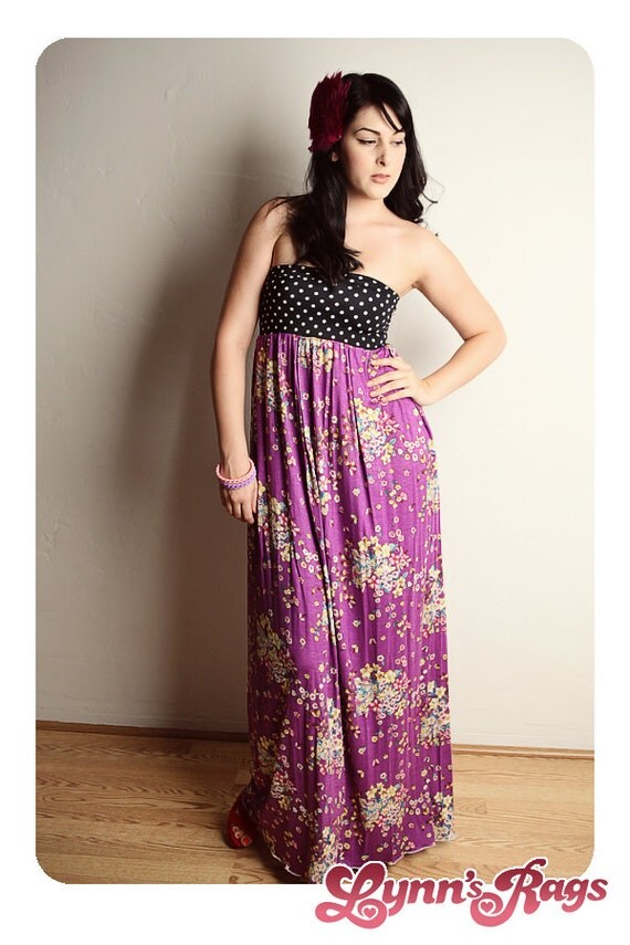 Purple Butterfly MAXI DRESS Polka Dot Handmade Long Strapless