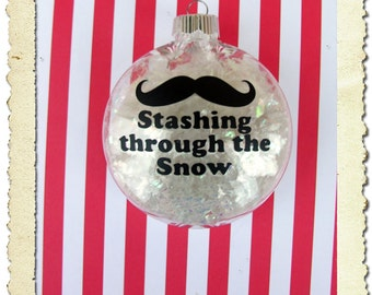 Stashing through the Snow Moustache Staching Mustache Christmas Ornament