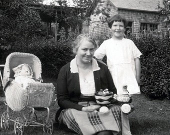 vintage photo Little Girl w Gran and Duck TOy and Doll in Buggy 1918