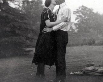 Vintage photo Kissing Couple Greeting card vintage photo