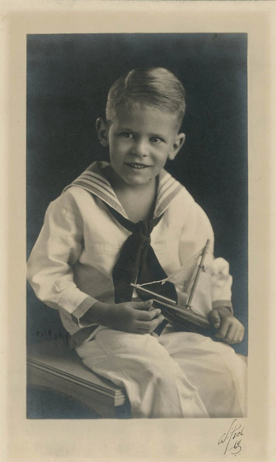 vintage photo Boy w Sailboat FAmous Photographer Witzel of Los Angeles signed