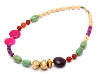 Multicolor Graduated Beaded Necklace