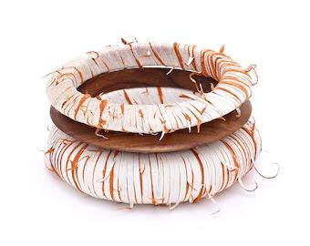 Birch Bark Style Leather Bangle Set