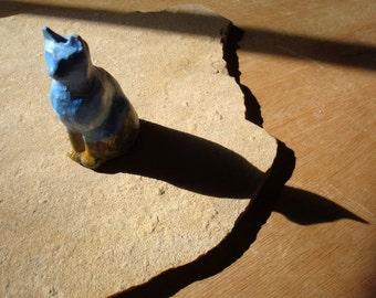 Small Ceramic Painted Desert Scene Cat Figurine