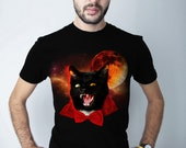 Men's Space Cat tshirt, Vampire, Funny halloween catula, dracula shirt, cat, kitty, Black Shirts, Mens Tee, Gift for guys, men tees, S - 2XL