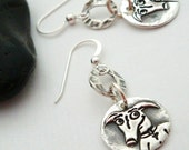 Greyhound earrings - Greyhound jewelry- Crazy Dog Mod Greyhound Earrings - Sterling and fine silver