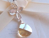 Bries Bridemaids Necklace - Sterling Silver, Customized Swarovski Crystal, Silver Orchid Necklace, Champagne Crystal - 3054