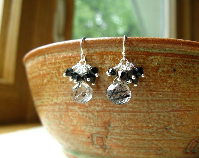 Delicious Handmade Black and White Rutilated Quartz and Swarovski Crystal Earrings