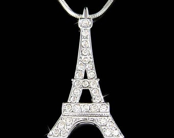 Swarovski Crystal 3D Eiffel Tower Paris France Honeymoon Pendant Necklace Christmas Best Friend Gift New