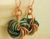 Eternity Copper Earrings - The Stylish Side of Chainmaille - Your Pick of Accent Color