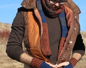 Mont Striped Gloves - rust
