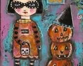 Halloween painting, Folk art painting, pumpkin, Original painting, Girl painting, children's art
