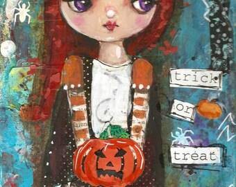 Halloween painting, Cat girl, Original Mixed Media painting ,Children's art, Folk Art