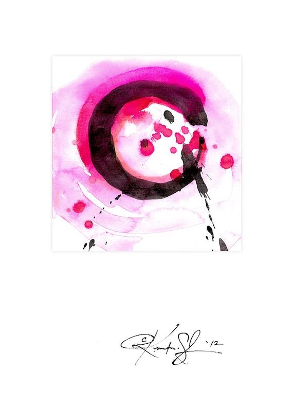 Original Enso Zen Painting Throw Pillows: Enso Painting Zen Circle Art Pink Original Contemporary