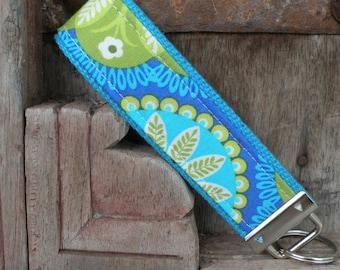Key Chain-Key Fob-Wristlet- Perrey on Turq 1-READY TO SHIP