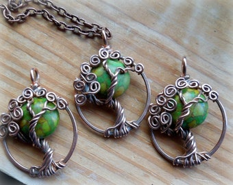 Earth tone Moon Tree of Life Necklace-Rustic- Mosaic Turquoise green, brown, yellow, rusts